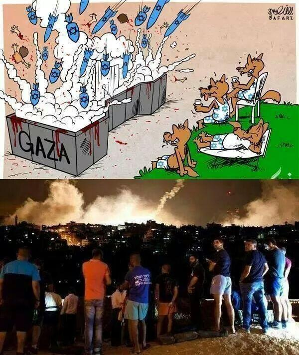 Image result for Sderot cartoon watching Gaza bombed
