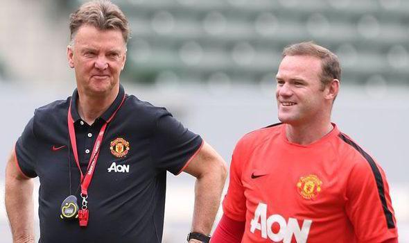 Fan footage: Louis van Gaal gives Wayne Rooney an enormous hug!