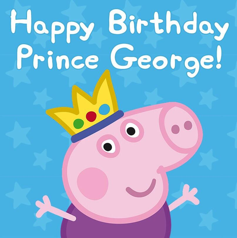 RT @PeppaPigUK: We in Pig HQ would like to say a very happy first birthday to Prince George! Have a goodun, your highness! http://t.co/BANc…