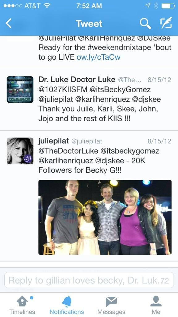 #Throwback a post from when we were trying to get @iambeckyg to 20K followers now she's at 1/2 Mil! @TheDoctorLuke