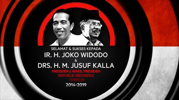 Selamat Bapak @jokowi_do2 dan @Pak_JK sebagai Presiden dan Wakil Presiden Republik Indonesia Terpilih 2014-2019. http://t.co/7JrVhvm0U0