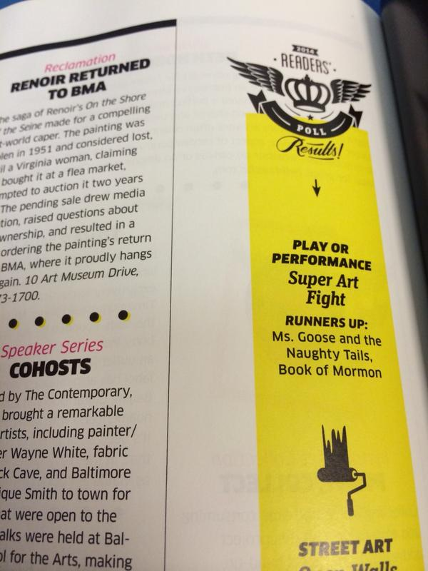 Hey, I know those guys! @SuperArtFight made Best of Baltimore's list for Best Play or Performance! So proud! http://t.co/BpcVd6AZbU