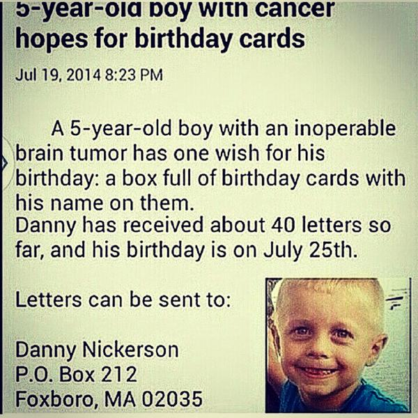 Let's help make Danny's wish. #DannyNickerson #Foxboro #RodmanLove  Sending much love your way Danny. http://t.co/rQLyf2HIwH