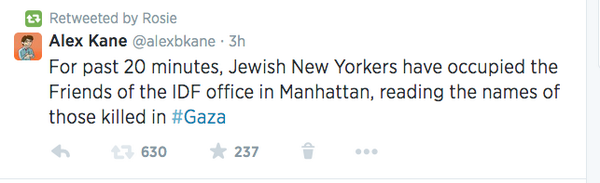 Well this was unexpected: @rosie O'Donnell RTs me on #Gaza and @jvplive protest http://t.co/hAWPo7nU4q