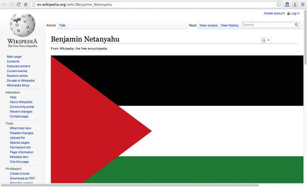 LOVE THIS! Someone changed the entry for #Netanyahu on Wikipedia to the #FreePalestine flag. http://t.co/MwtNO3stRb