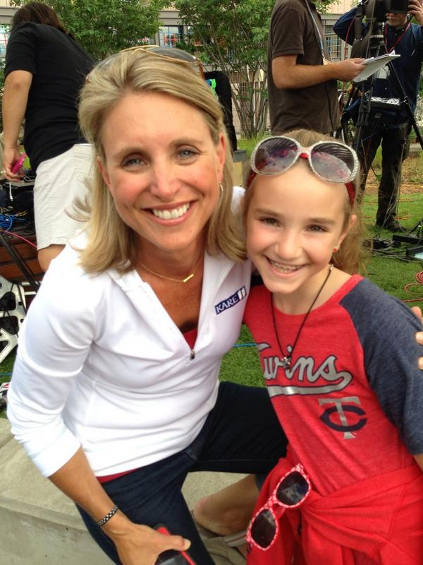 Here s the photo of mia with kare 11 belinda jensen at the all star