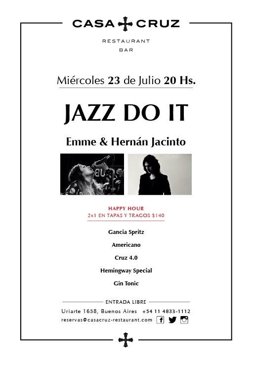ESTE MIÉRCOLES 23 (osea mañana) EN @CasaCruzrest CON @hernanjacinto en guitarra & yo, en voz!!! GRATIS!! JAZZ DO IT!! http://t.co/Yu7V0aJCOK