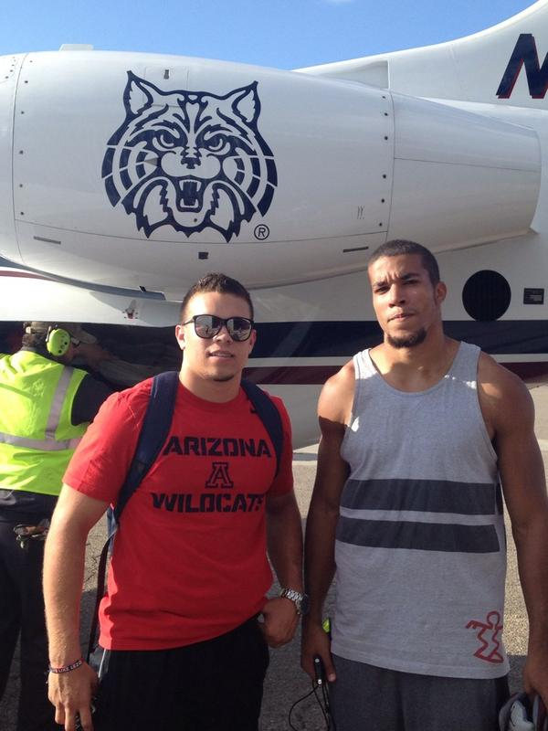 . @CoachRodAZ, Austin Hill and Jared Tevis are loaded up for LA. #WheelsUp #BearDown #pac12fb http://t.co/T7MuYv67iW