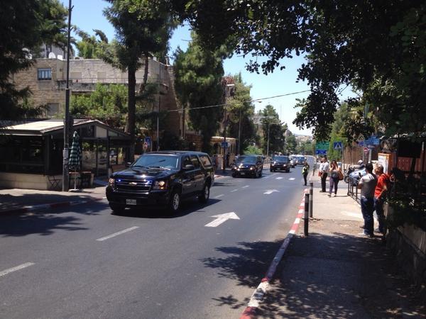Sec State John Kerry's motorcade in Jerusalem. http://t.co/ROnhCPR9rJ