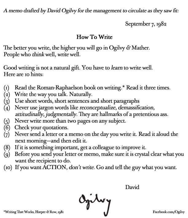 RT @martynrosney: Almost 32 years later and David @Ogilvy's tips on how to write are more relevant than ever: http://t.co/ypRekahbuV