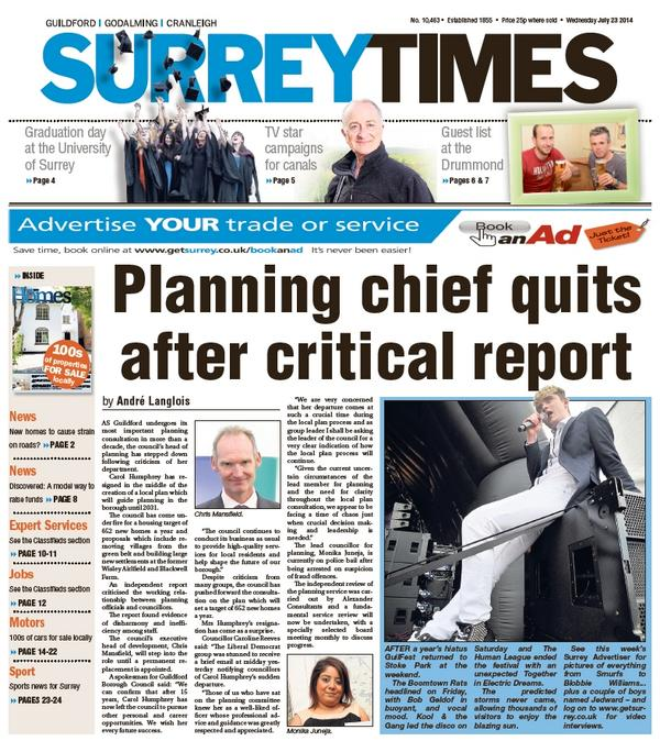 Morning - today's Surrey Times front page. Planning chief quits after critical report. One half of Jedward. http://t.co/wbSCXXSGe4