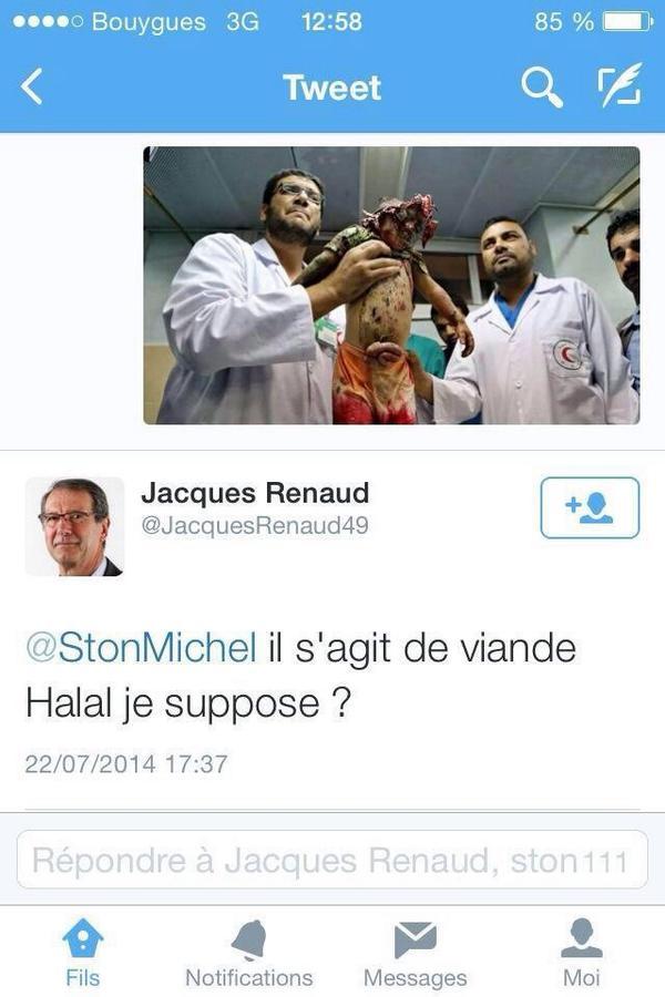 """نائب عمدة بلدة منوترويل بفرنسا يغرد ساخرا على صورة أشلاء طفل قتلته اسرائي:"""" لعله لحم حلال""""  @ArabVoicesSpeak http://t.co/dkpJadCndb"""