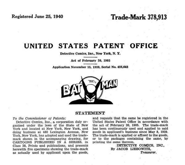 Batman became a reg. #trademark on June 25, 1940 #Batman75 #Batman75thAnniversary #BatmanDay @SenatorLeahy @DCComics http://t.co/lPGKJBkllN