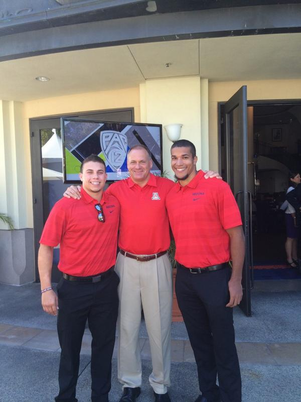 Before the flurry of interviews start, got a great shot of Jared Tevis, Coach Rodriguez and Austin Hill. #Pac12FB http://t.co/KAsG0y3674