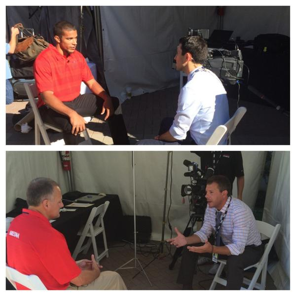 The first of many interviews for @CoachRodAZ and Austin Hill #Pac12FB http://t.co/qVcnc9uZ8y