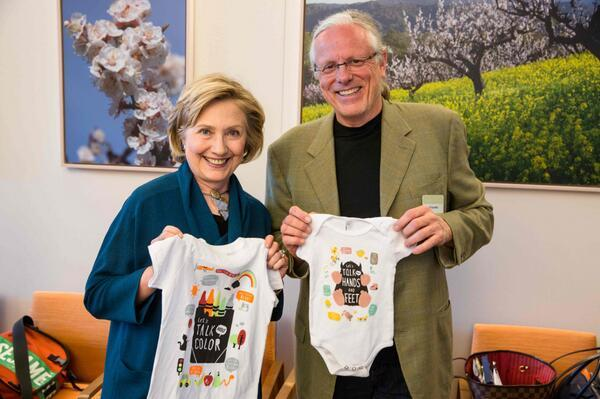 #TalkReadSing clothing line launches today, displayed here by @HillaryClinton and @JeffBadby http://t.co/jeZPDGphE9 http://t.co/AYzMFrxPKy