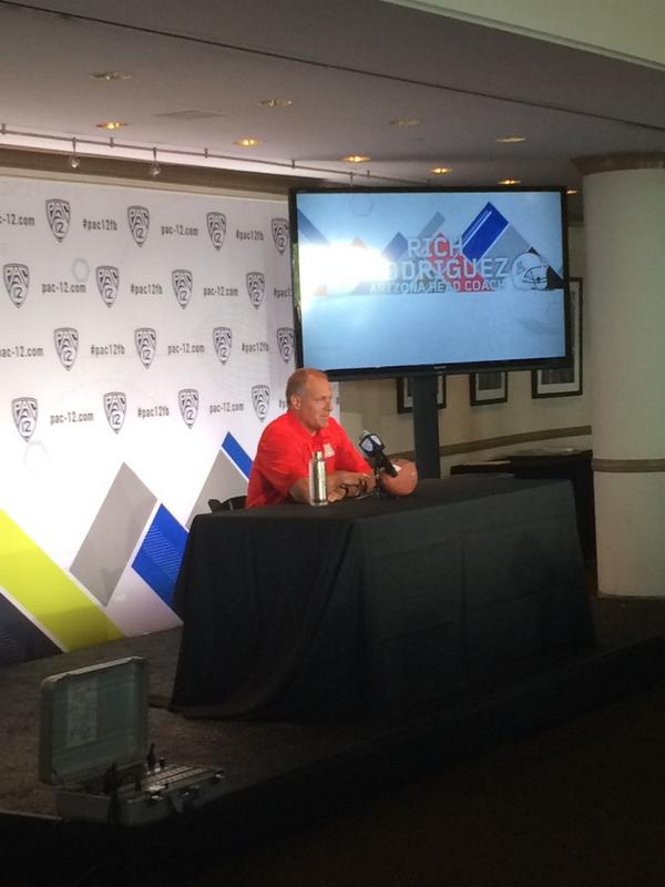 ".@CoachRodAZ takes the stage here at #Pac12FB Media Day. ""It's gonna be a fun year for us here at Arizona."" http://t.co/yR0LLSYbXq"