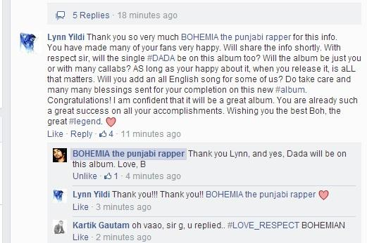 2day #Bohemia answered my post 4 him on FB. I am now realizing its signed: Love, B. OMG!!! <3 #NewAlbum #ComingSoon!! http://t.co/UTzjp1Po06