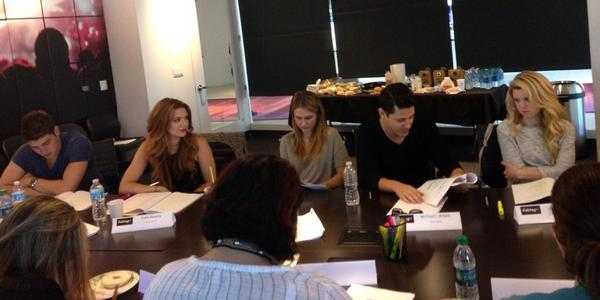 #FakingItSeasonTwo first Table Read!! @thekatiestevens @therealritavolk @greggsulkin @misterwillett @baileybuntain http://t.co/O3ByUeUKL4