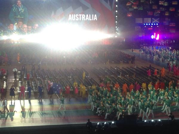 Aussies are in the house! #2014Ceremony #Glasgow2014 http://t.co/NR3xa9EUO4