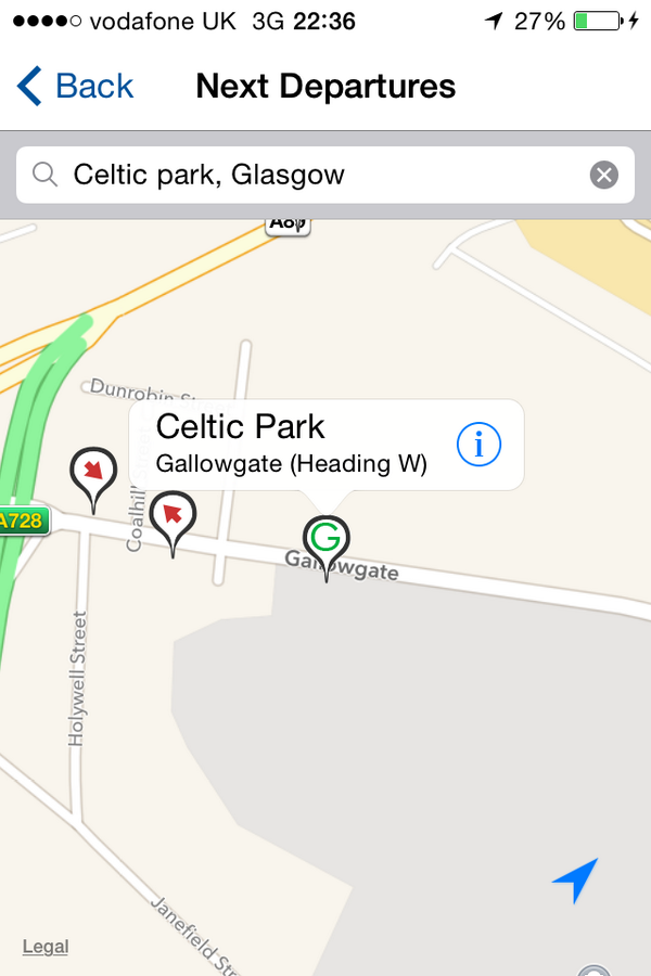 For city centre shuttles, use westbound Games stop at the Gallowgate. Find  it on the app departures map: http://t.co/pmnJUyaRMm