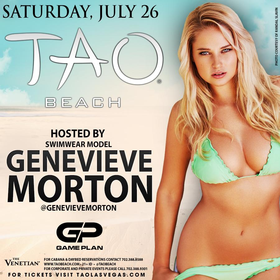 RT @taolasvegas: As if it couldn't get any hotter...swimwear model @GenevieveMorton hosts #TAObeach this Sat!  http://t.co/s7du4J4tGF http:…