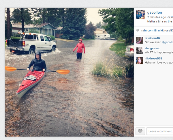 RT @echosec_search Kayaking in the streets of #kamloops after freak weather. #flooding #news. http://t.co/pprxWmGn9t http://t.co/MhNAA17uyR