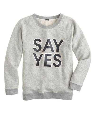 Say yes to the...sweatshirt? http://t.co/QcVkq9WEMs http://t.co/hVRf9et5YO