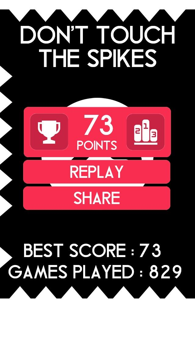 Got 73 points in don t touch the spikes spikesgame https itunes apple