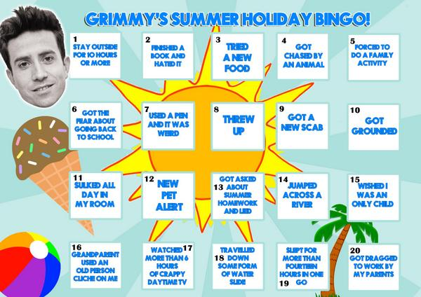 r1 breakfast with nick grimshaw 2012 2018 on twitter this is our summer holiday bingo card print it off or save it on your phone tell us when youve