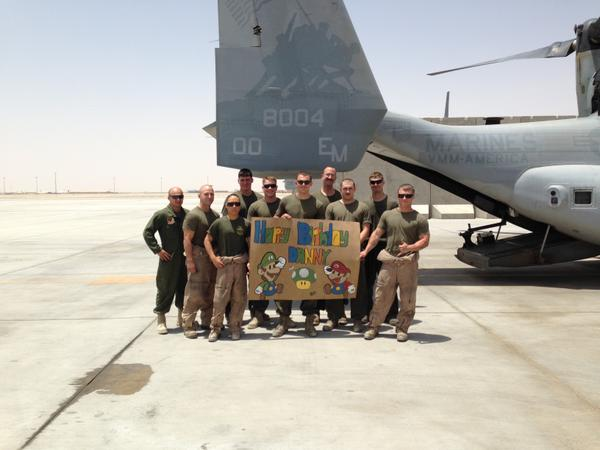 .@TheSunChronicle Here's a photo sent to #WBZ for #dannynickerson. Happy Birthday!  Camp Leatherneck, Afghanistan. http://t.co/xJ2dSxzEca