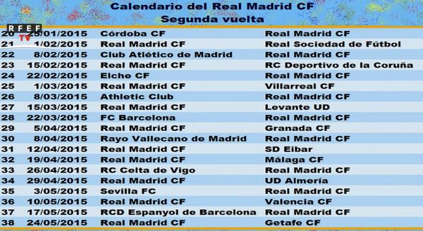 Расписание матчей реал мадрид