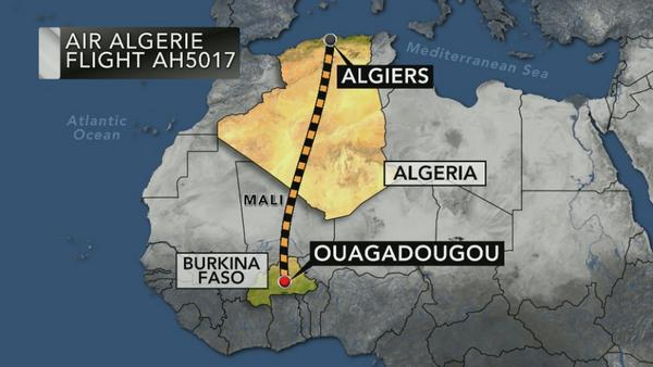 Air Algerie flight from Burkina Faso to Algiers has disappeared from radar. Path the plane was supposed to take: http://t.co/LFOHnDcYej