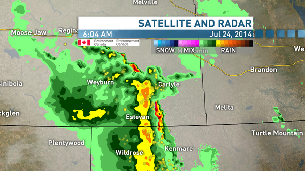 Severe Thunderstorm warning for #Estevan. Hail, wind & heavy rain in the SE. See Radar #skstorm #skcbc #cbcyxe http://t.co/WSt1fbjofn