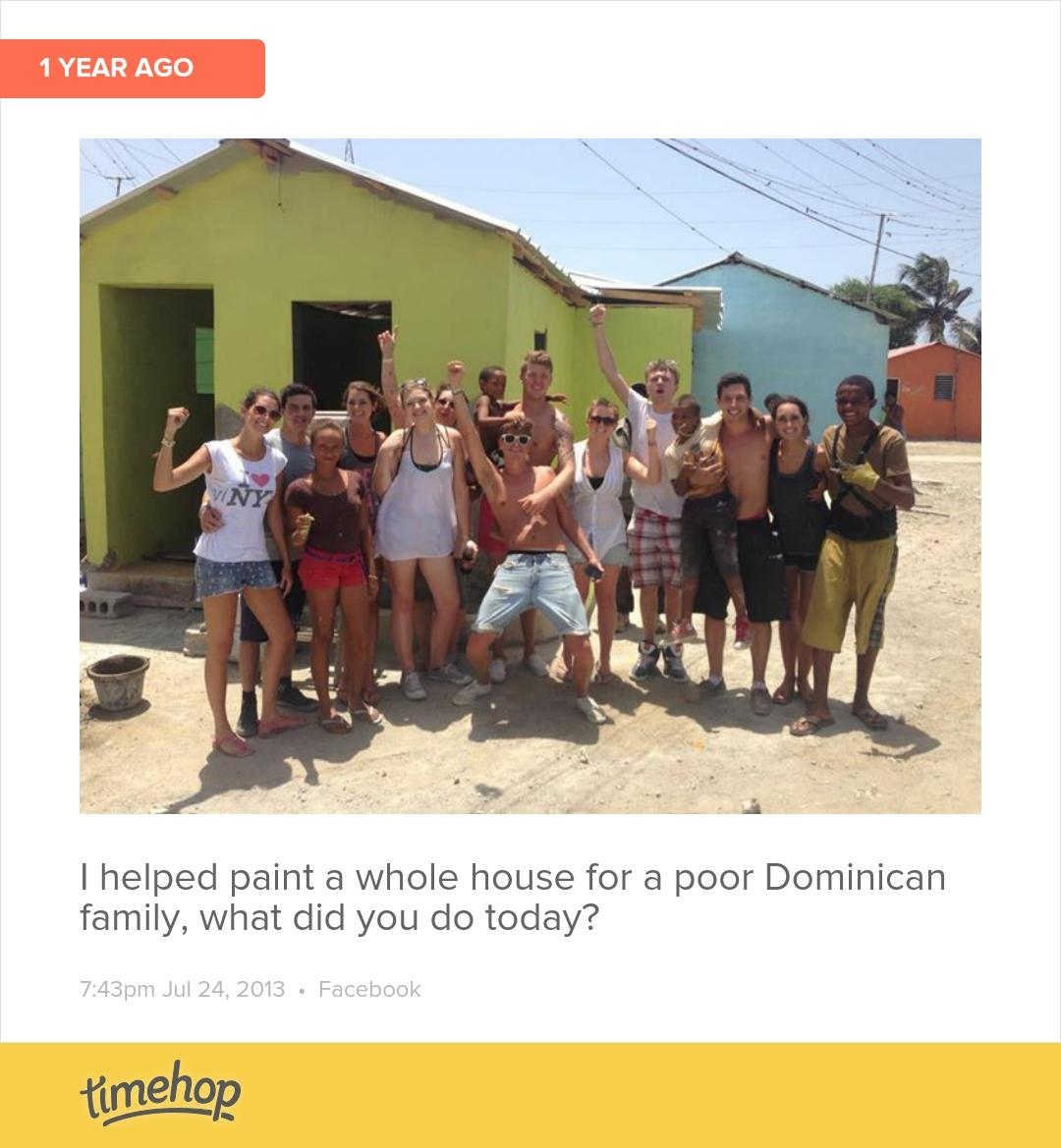 RT @jamie_oaten: Wow exactly a year ago today I took a day out of my holiday to help a Dominican family!!☺️ http://t.co/eKogZfITvc