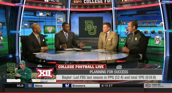 #AmericasTopOffense getting some love with @CoachArtBriles on the set of College Football Live. #SicEm http://t.co/S96NUgJLHP