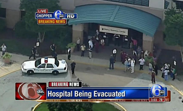 BREAKING: 3 shot on campus of Mercy Fitzgerald Hospital in Delaware Co.; 1 in custody: http://t.co/vs2tH2HKvg http://t.co/lUIecfns4W