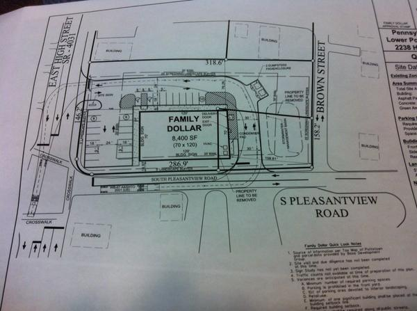 Correction. Proposed location, as shown here, is at intersection with Pleasantview Road, @ 2238 E. High St. http://t.co/R566lew09L