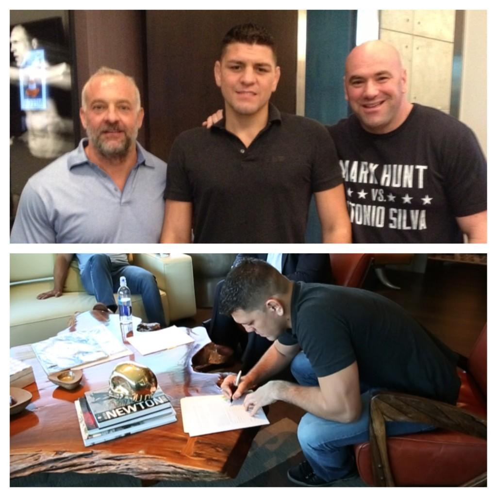RT @danawhite: He's back @nickdiaz209 just signed a new bout agreement 2 fight! Details coming soon http://t.co/coguxLGhUI http://t.co/BGlZ…