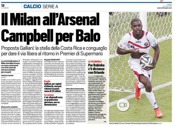 AC Milan will sell Mario Balotelli to Arsenal for €10m plus Joel Campbell [Tuttosport]