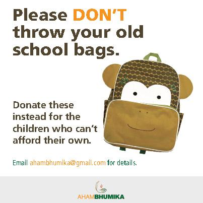 Please don't  throw away old school bags of your children,we need them for our rural counterparts #Help #NGO #Donate http://t.co/6os6hmaTDB
