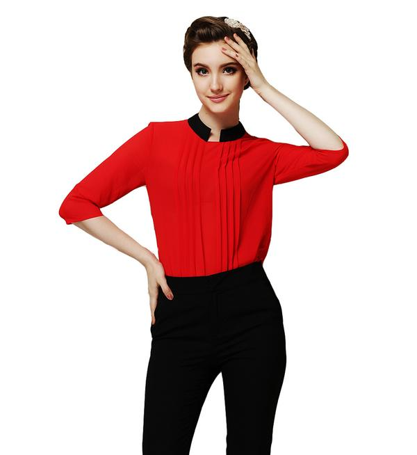 black pants red shirt women with brilliant picture