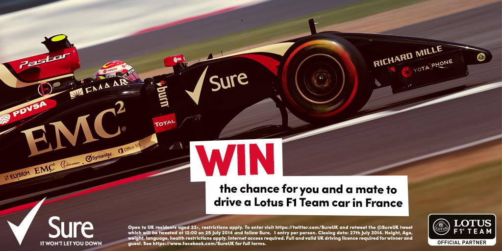 RT @sureuk: RT & follow Sure to #WIN a once-in-a-lifetime chance to drive a @Lotus_F1Team car in France on 29-30 Sept. #DOMORE http://t.co/…