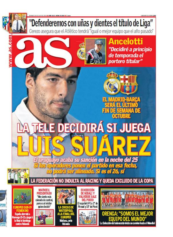 Fantastic AS front page headline: The TV will decide if Suarez plays [Picture]