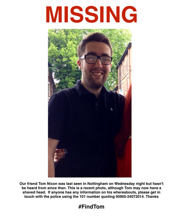 Tom Nixon has been missing since Weds night. Please RT this poster and help #FindTom. http://t.co/iAZ5cnOERC