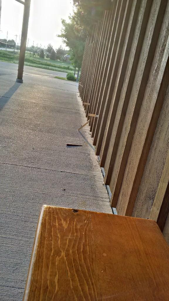 Lowest of the Low!! 2 of our Front Porch Benches were ripped out of the wall last night... #NotCool :( http://t.co/1NpRqv1v9s