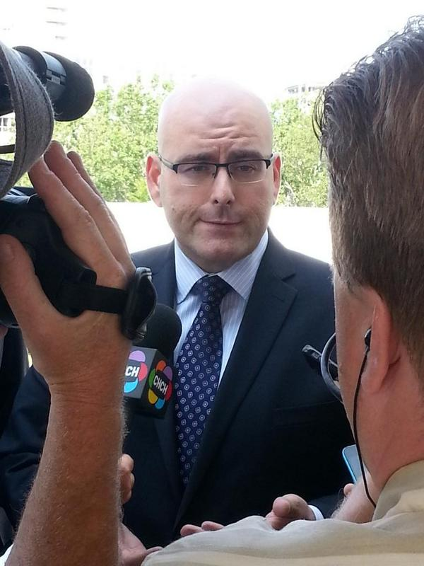 Transport Minister Steven Del Duca talking to reporters after his July 25, 2014 meeting with Mayor Bratina (RTH file photo)