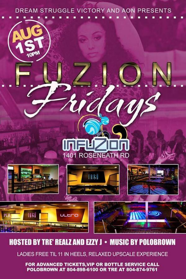 Next Friday The Move is At Club Infuzion For #FuzionFridays Grand Opening Relaxed Upscale Environment http://t.co/Gy0bTwX8TO