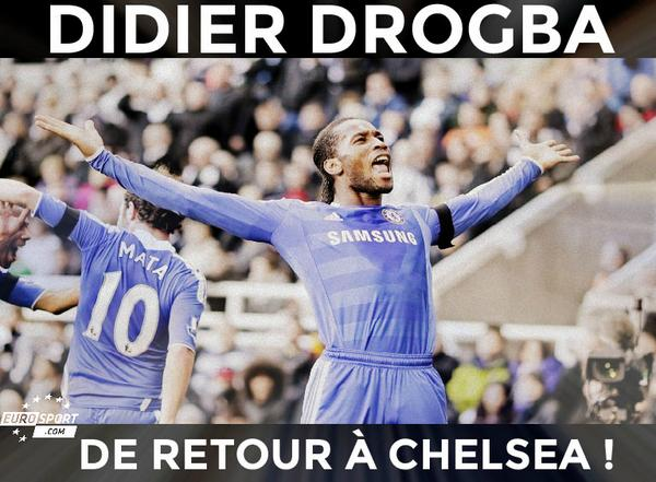 OFFICIEL : Didier #Drogba fait son retour à @chelseafc après deux ans d'absence ! #Transfert http://t.co/BEyYMAUWyi