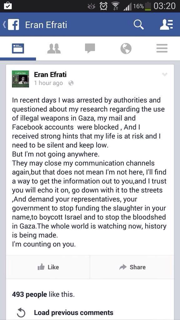Israeli army whistleblower Eran Efrati says he was arrested/q'd for revealing accounts of Israeli crimes in Gaza: http://t.co/hdMPyg1gfE